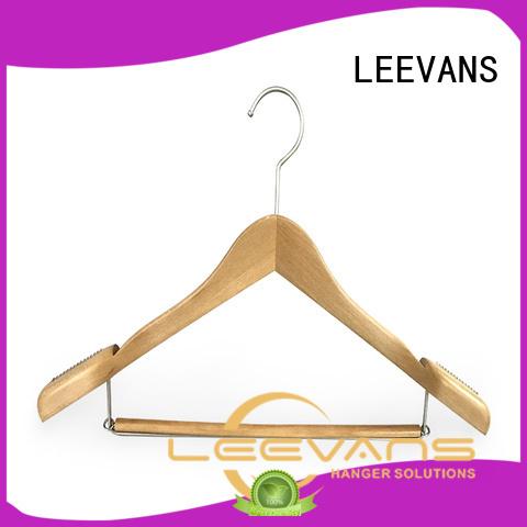 LEEVANS custom personalised wooden hangers locking for pants