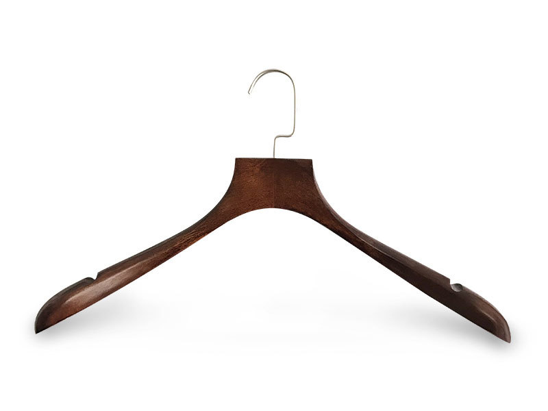 Dark Brown Wooden Coat Hanger With Flat Metal Hook For Garment