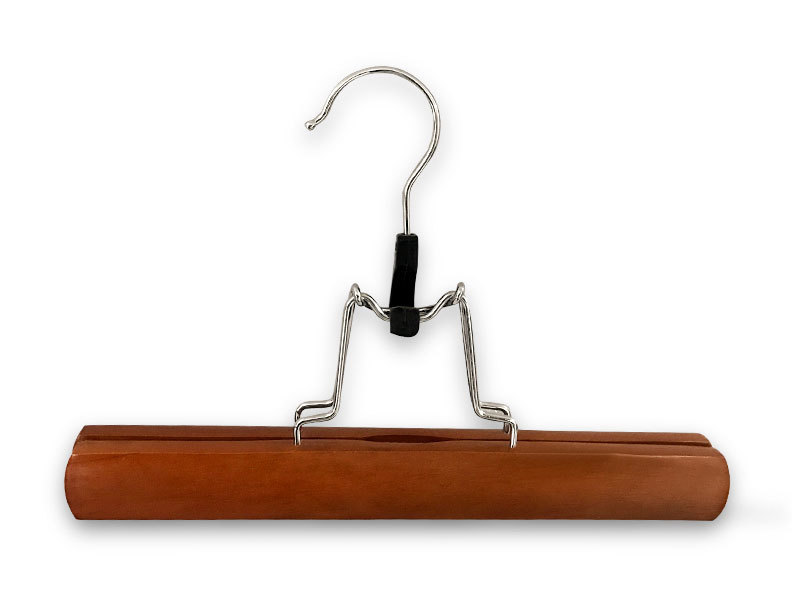 Good Quality Brown Wooden Clamp Hanger For Pants With Extension Hook