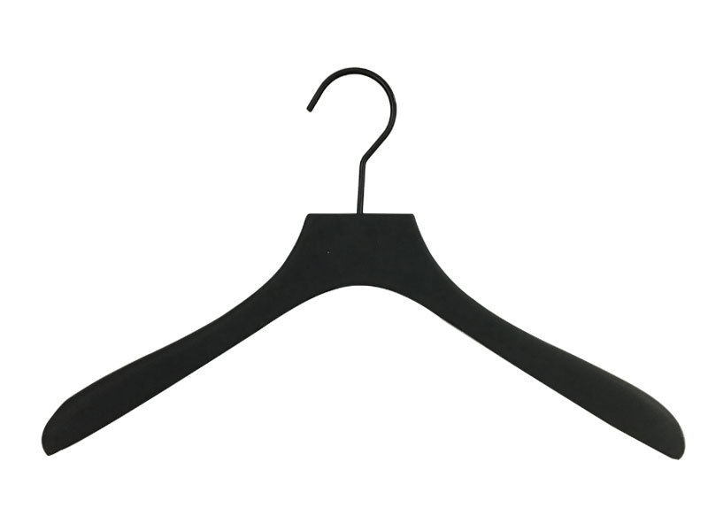 Matte Black Painting Or Covered Rubber Luxury Wooden Clothes Hanger