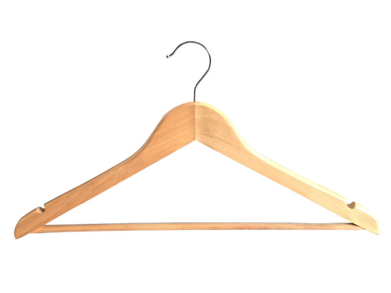 Hot Sale Wooden Top Hanger With Round Bar For Hotel Or Home