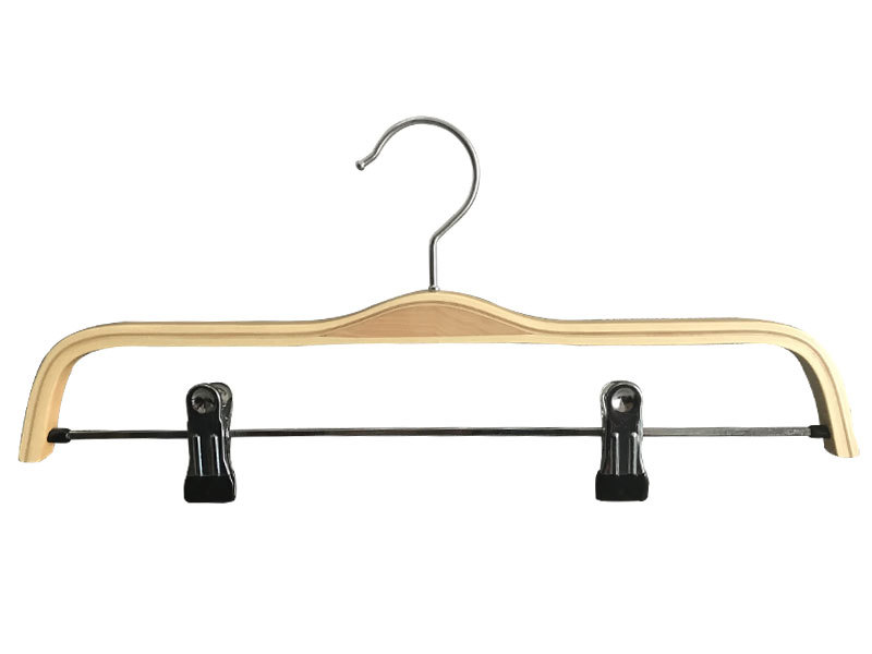 Factory Directly Sales Plywood Garment Hanger With Metal Clips