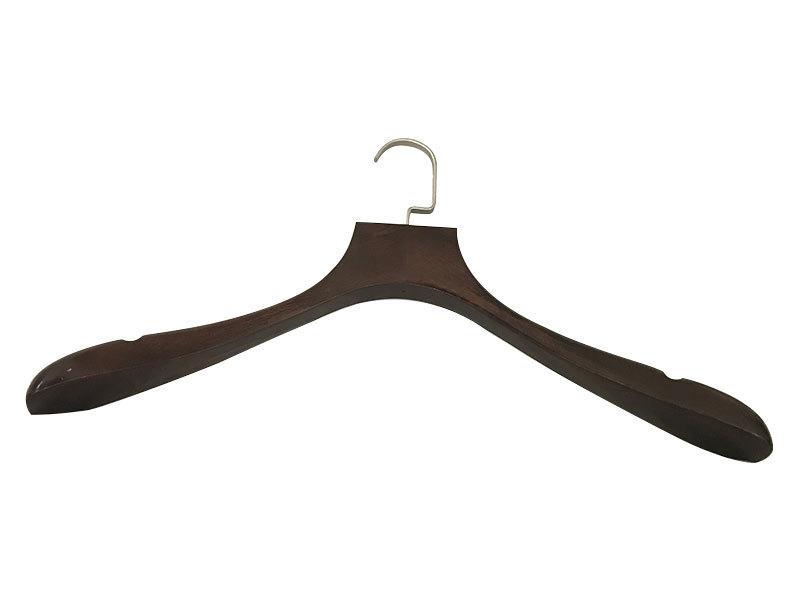 Dark Brown Wooden Coat Hanger With Flat Metal Hook For Garment