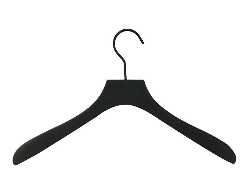 Matte Black Painting Or Covered Rubber LuxuryWooden Clothes Hanger