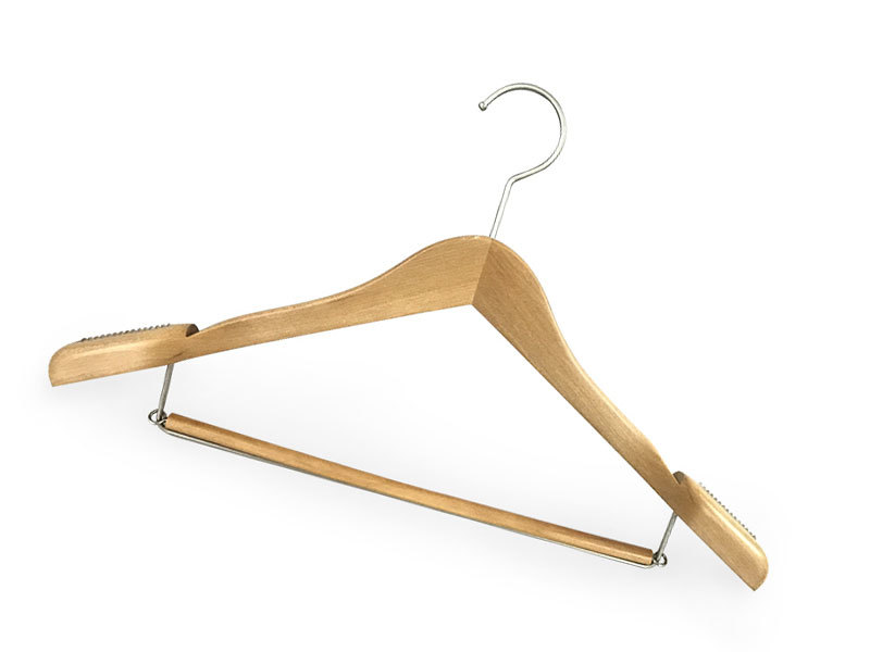 Premium Quality Solid Wooden Clothes Hangers With Locking Bar