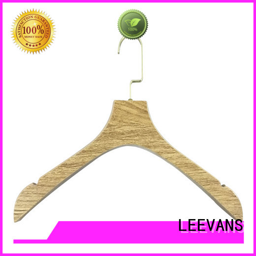 LEEVANS Latest wooden coat hangers with trouser clips Supply for clothes