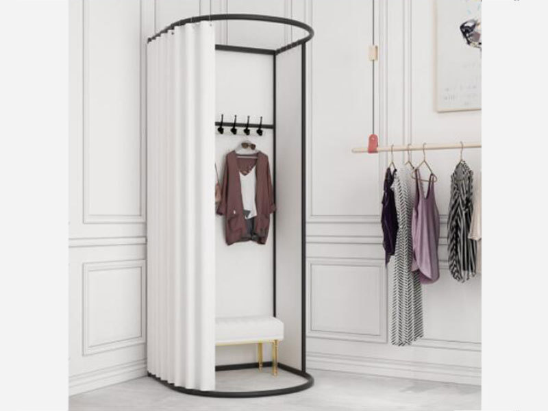 product-Clothing Store Metal Portable Fitting Room Movable Golden Dressing Room, Portable Fitting Ro-1