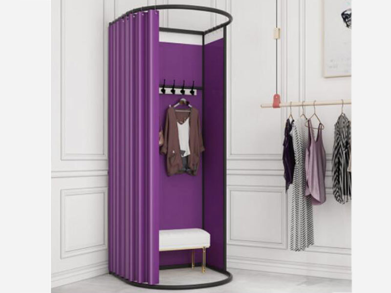Clothing Store Metal Portable Fitting Room Movable Golden Dressing Room, Portable Fitting Room