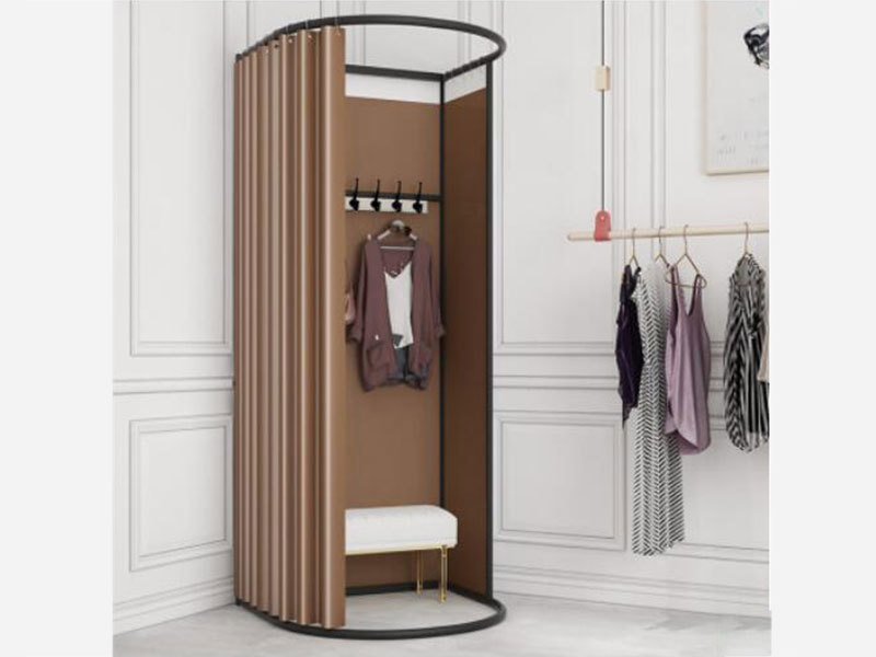 product-LEEVANS-Clothing Store Metal Portable Fitting Room Movable Golden Dressing Room, Portable Fi