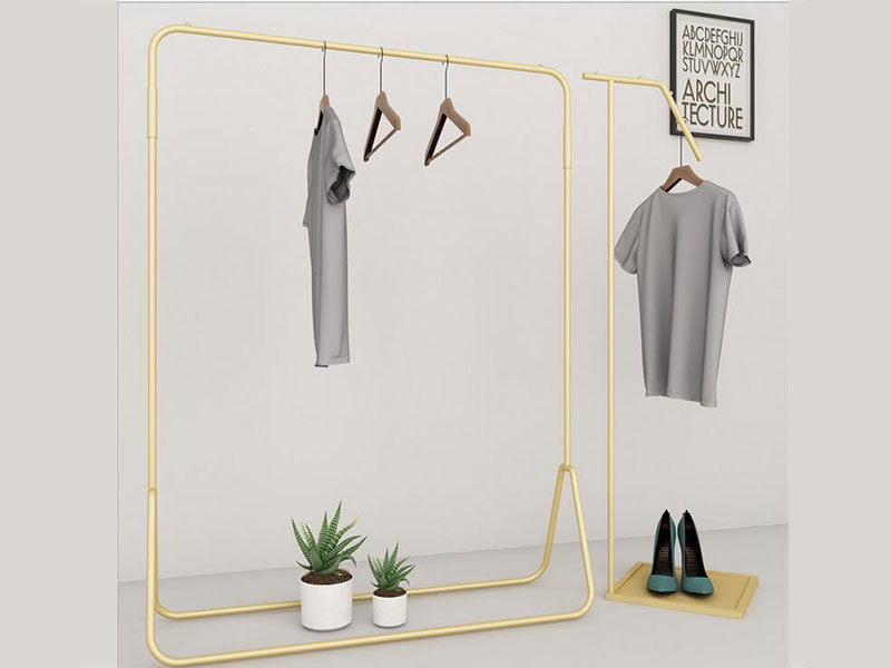 Luxury Shopping Mall Clothes Store Furniture Display Stand, Golden Display Shelf And Unique Style Metal