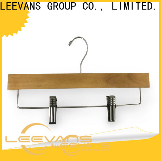 LEEVANS New wooden pants hangers with clips factory for trouser