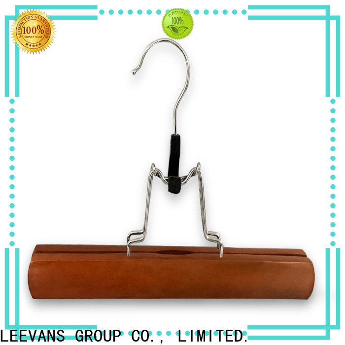 LEEVANS High-quality wooden coat hangers with clips manufacturers for skirt