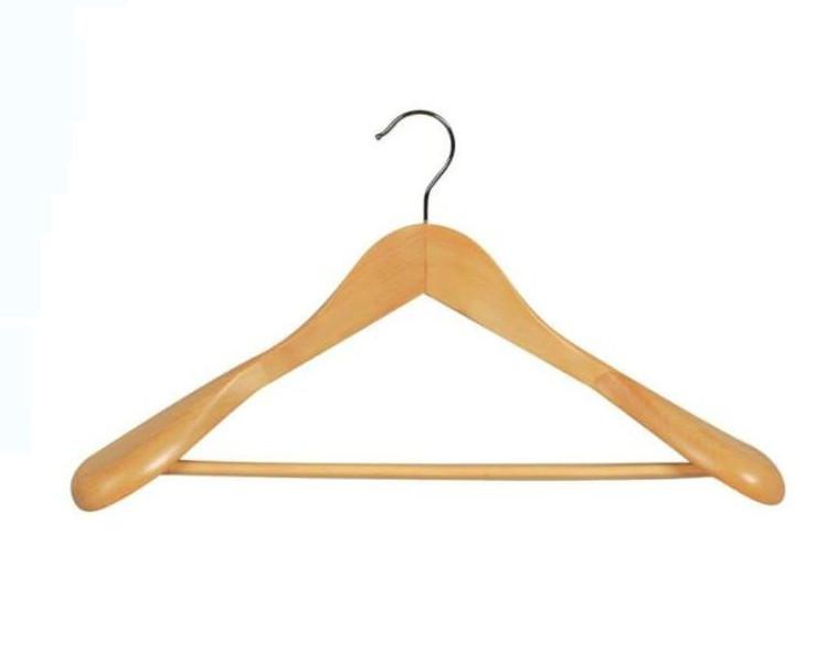 High-Grade Wooden Hanger For Suit , Wide Shoulder Wooden Hanger With Bottom Rail