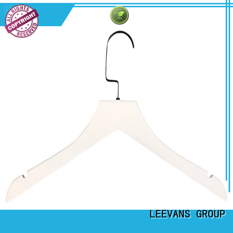 LEEVANS extension white wooden clip hangers manufacturers for clothes