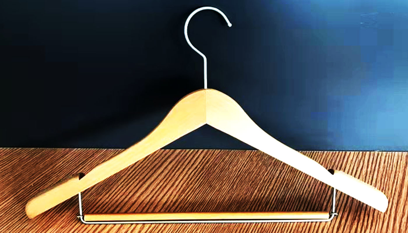 Dual purpose wooden hanger ,wired steel wooden rod, with Flat form hanger with skirt notches, swivel hook