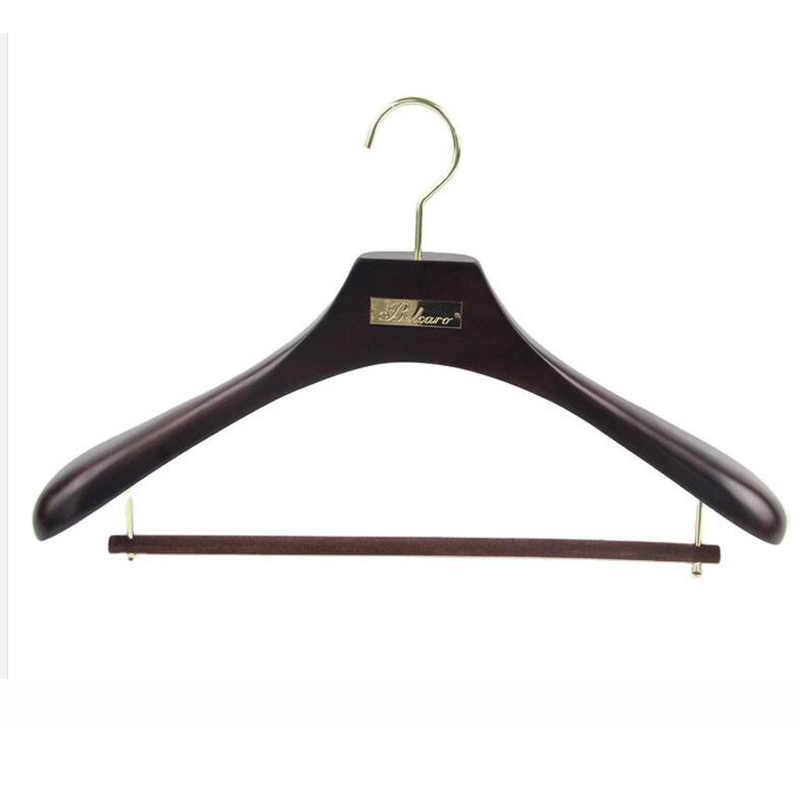 Luxury brand clothing men hanger with metal plate logo customized wooden coat hanger