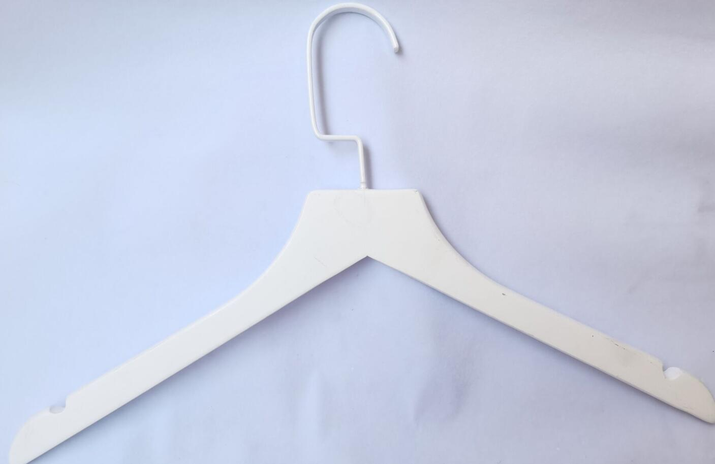 All White Wooden Hanger For Fashion Clothes Shop