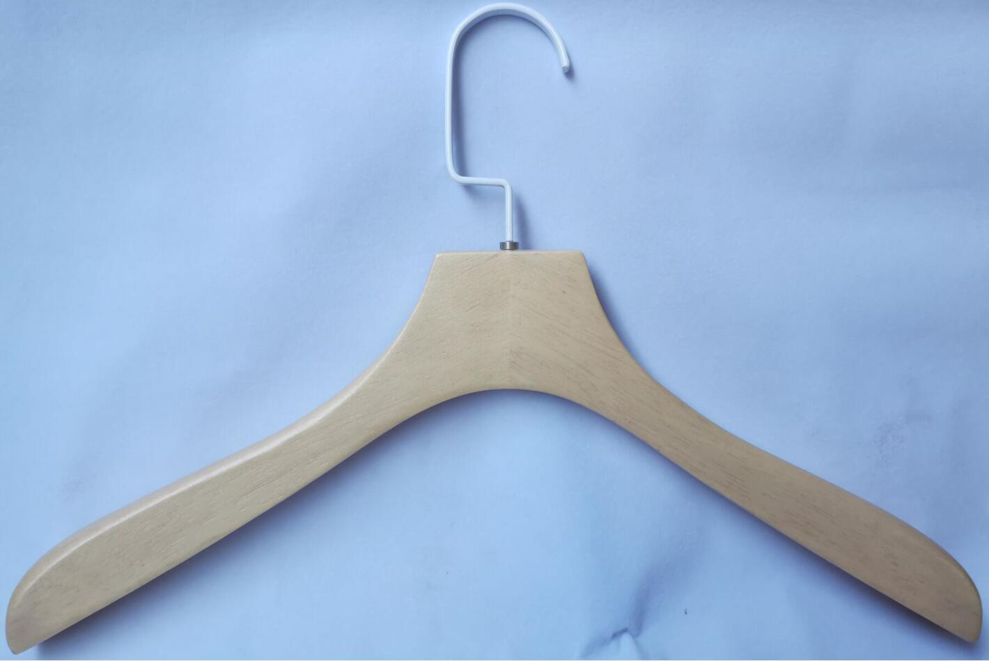 Top Wooden Hanger With White Square Hook