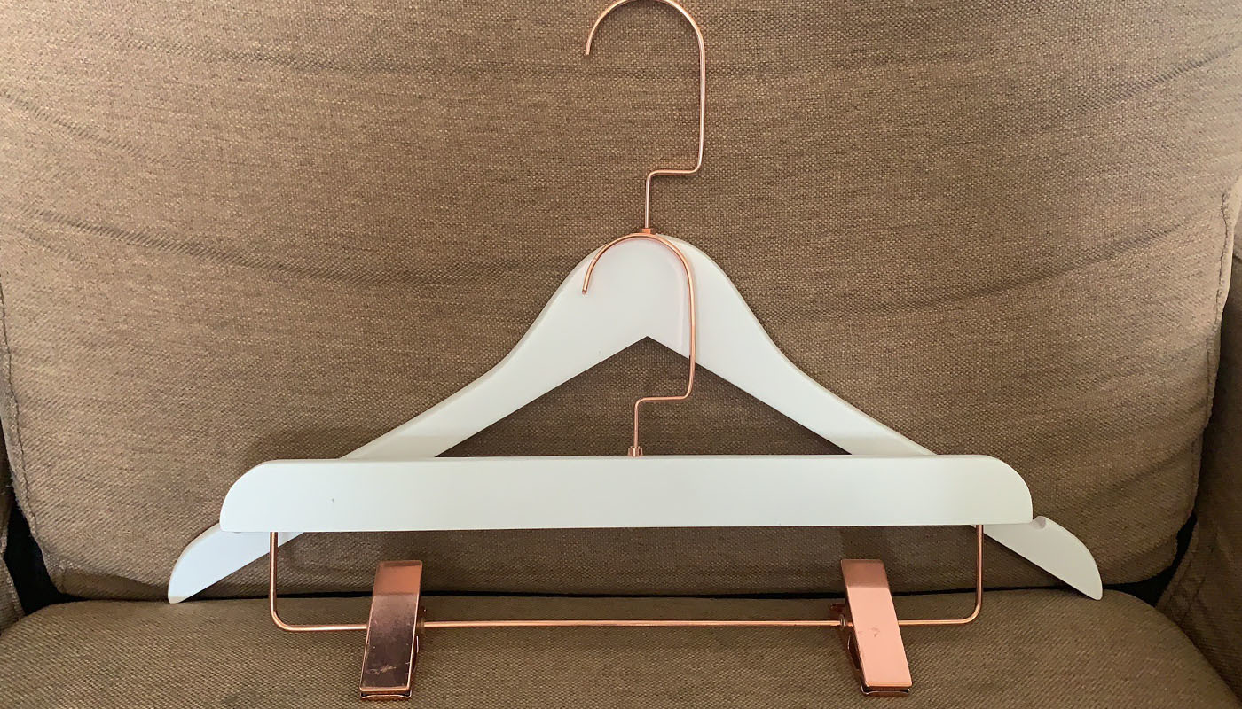 Rose Metal With White Wooden Hanger